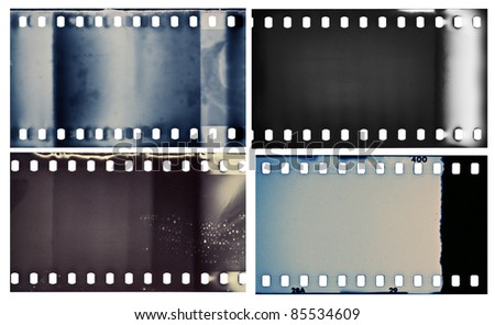Blank grained film strip textures - stock photo