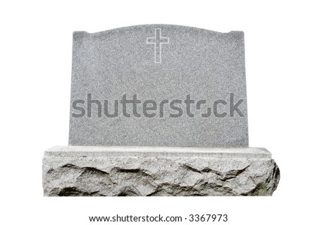 Blank granite headstone set against white background with clipping path - stock photo