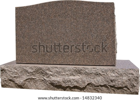 Blank grave headstone ready for your message. Has work path for isolation. - stock photo