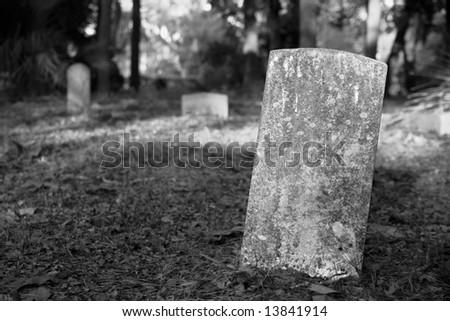Blank Graveyard Tombstone - stock photo