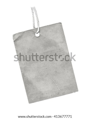 blank gray cardboard tag on white background