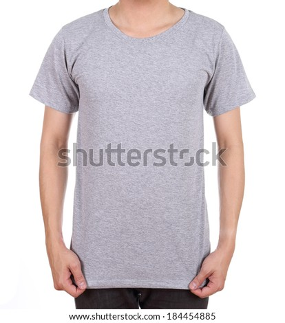 blank gray t-shirt on man (front side) isolated on white background