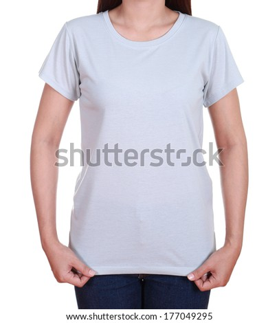blank gray t-shirt on woman isolated on white background