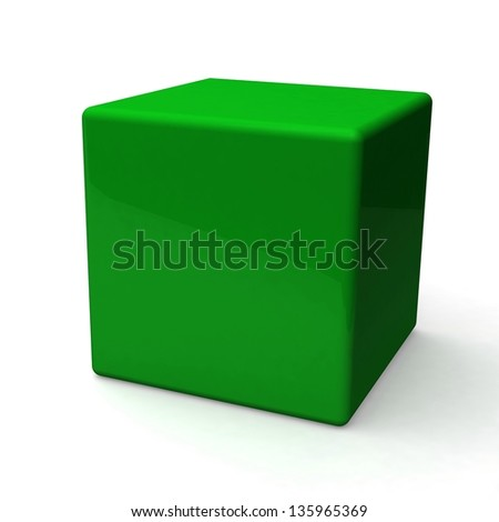 Blank green box on white background