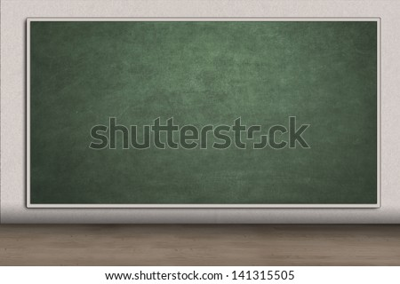 Blank green chalkboard for copy space in classroom - stock photo