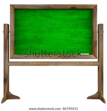 blank green chalkboard in wooden frame. isolated on white. - stock photo
