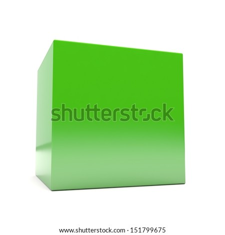 Blank green 3d cube in perspective on white background