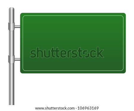 Blank Green Glossy Highway Road Sign Isolated on White Background