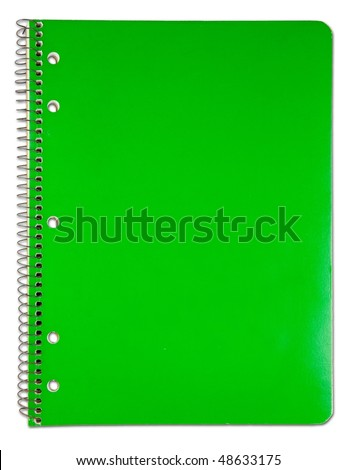 Blank green notebook cover. used condition. - stock photo