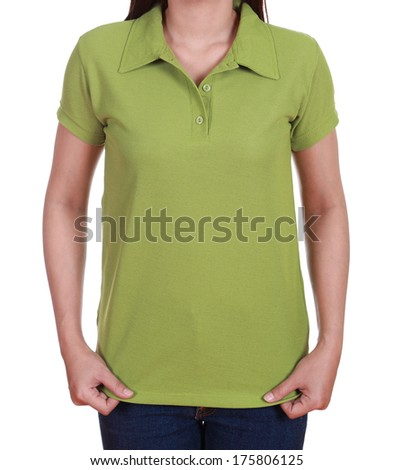 blank green polo shirt on woman isolated on white background - stock photo