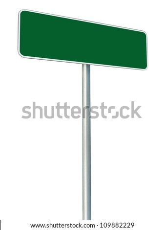 Blank Green Road Sign Isolated, Large White Frame Framed Roadside Signboard Perspective Copy Space, Large Empty Signage - stock photo