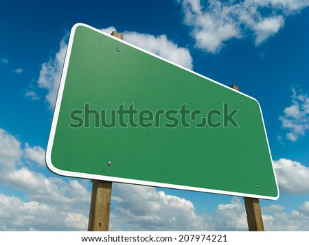 Blank Green Road Sign Isolated on a sky Background - stock photo