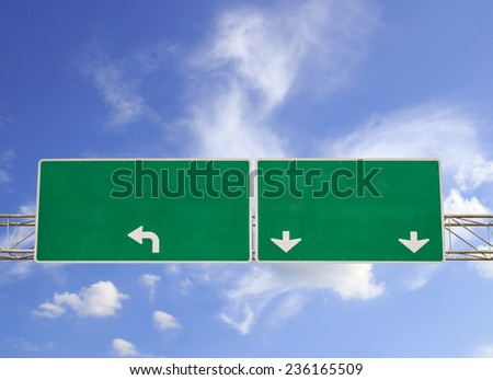 Blank Green Road Sign on Dramatic Blue Sky with Clouds - Ready for your own message. - stock photo