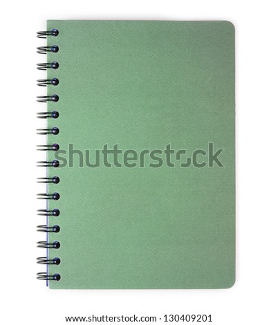 Blank green spiral coil notebook. Isolated on white. - stock photo