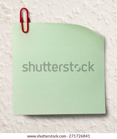 Blank green sticker and red clip surface - stock photo