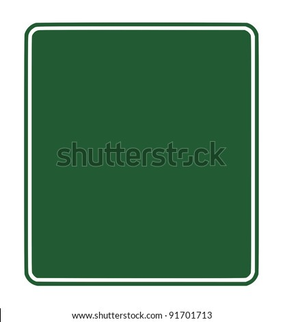 Blank green traffic sign isolated on white background with copy space.