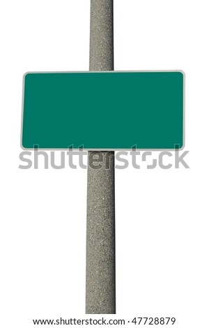 Blank green traffic sign on concrete electric pole - stock photo