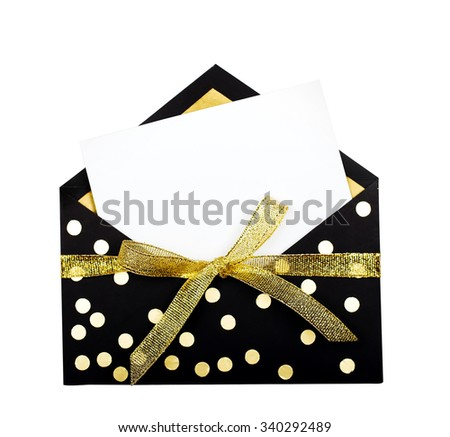 Blank greeting card isolated on white background. copy space for text - stock photo