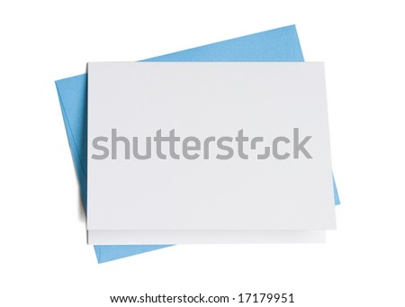 Blank greeting card on top of colored envelope isolated on white background - stock photo
