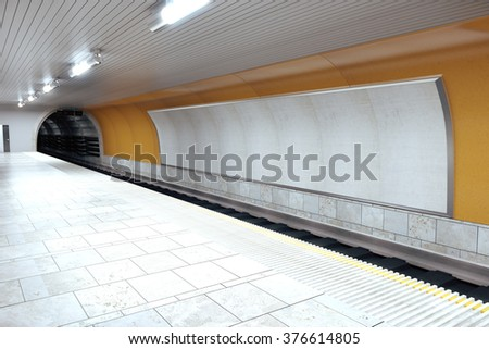 Blank grey billboard on subway wall, mock up 3D Render - stock photo