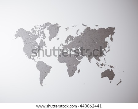 Blank Grey Concrete Texture Political World Map. 3D rendering. Empty wall background. High textured row materials. Mockup ready for business information. Horizontal - stock photo