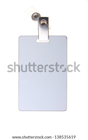 Blank grey magnetic security tag pass isolated on white background.