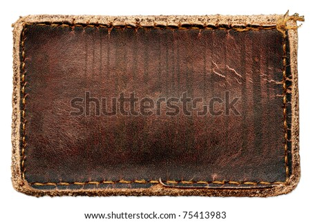 Blank grungy brown natural leather jeans label, highly detailed, isolated on white background - stock photo