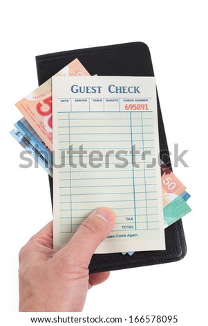 Blank Guest Check and dollar, concept of restaurant expense. - stock photo