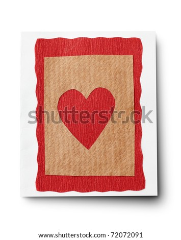 Blank handmade card with heart isolated on white background. - stock photo