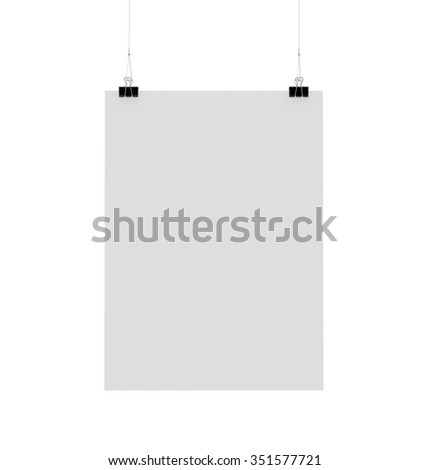 blank hanging poster template with paper clip