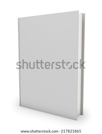 Blank hardcover book template isolated on white background. - stock photo