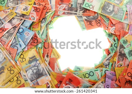 Blank Heart from Australian Money - Aussie currency - stock photo