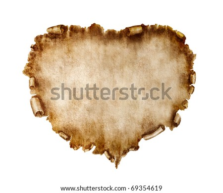 Blank heart-shaped vintage piece of parchment. Valentines Day Card love letter background isolated on white. - stock photo