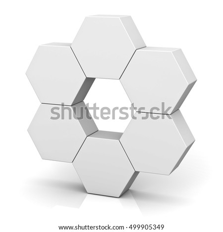 Blank hexagon signboard boxes on white background abstract concept with shadow. 3D rendering.