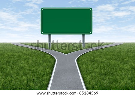 Blank highway and road sign metaphor with fork shaped traffic lanes showing the concept of dilemma and selecting the right option. - stock photo