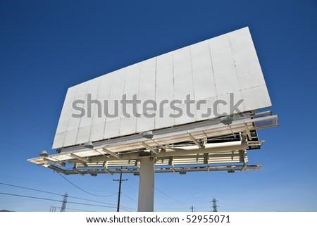 Blank highway billboard in California's Mojave desert. - stock photo