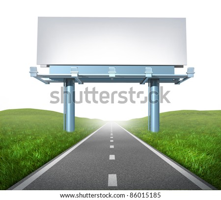 Blank highway billboard sign and display on a road representing the concept of focused advertising and marketing communications to clients for promotion and sell a brand on white background. - stock photo