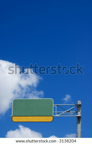 Blank Highway Sign - empty space for custom content - stock photo