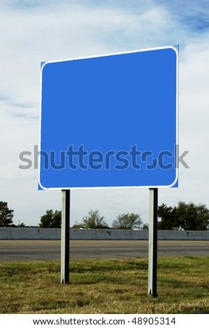 blank highway sign with room for your text - stock photo