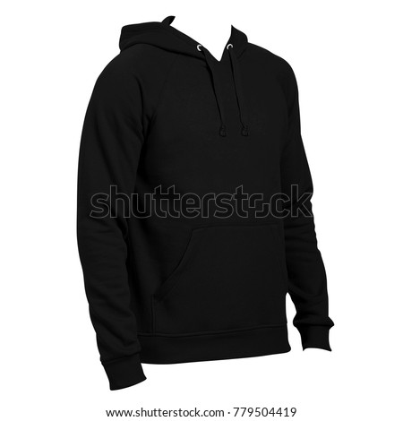 Blank sweatshirt mock template front back stock photo 658593055 blank hoodie template side left view black color for mockup pronofoot35fo Choice Image