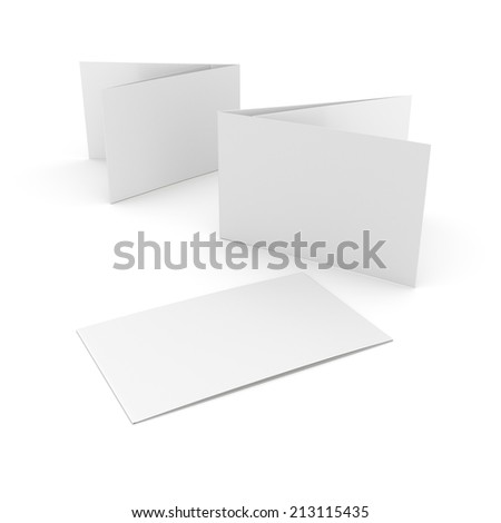 blank horizontal orientation leaflets with three wings isolated on white. render - stock photo