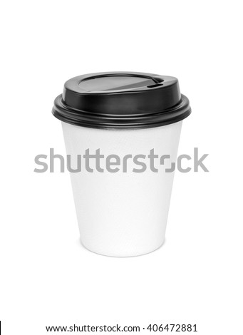 blank hot coffee cup isolated on white background with clipping path - stock photo