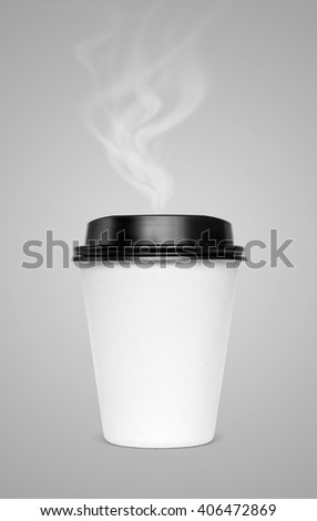 blank hot coffee cup with steam isolated on gray background with clipping path - stock photo