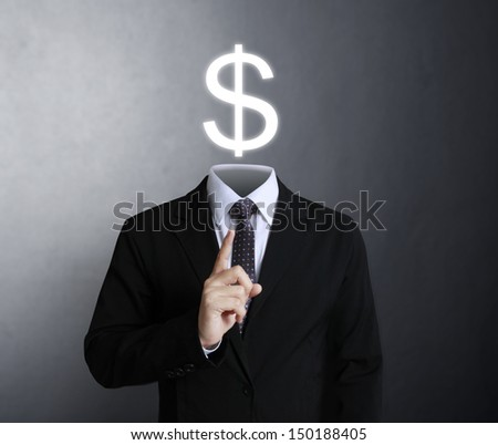 Blank human head symbol with words Dollars
