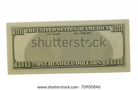blank hundred dollars bank note isolated on white background