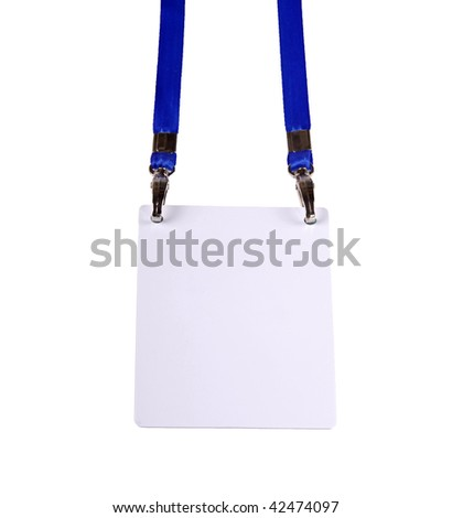 Blank ID card / badge against white background - stock photo