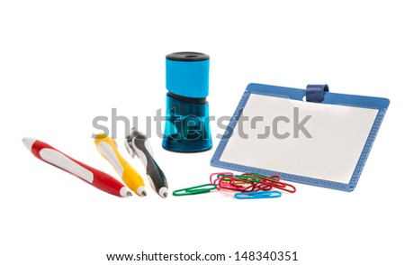 Blank ID card / badge and pen on a white background - stock photo
