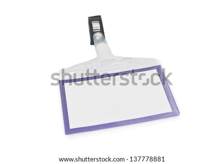 Blank ID card badge isolated on white background