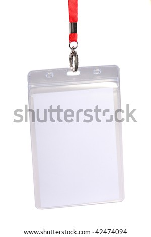 Blank ID card / badge with copy space against white background - stock photo