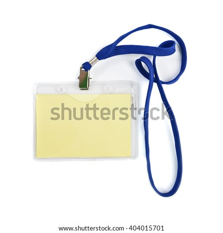 Blank ID or security card with blue neck strap - stock photo